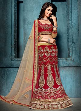 Red Net Embroidered Lehenga Choli