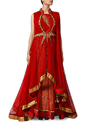 Red Net High Low Indo Western Straight Pant Suit