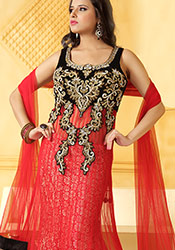 Red Net Long Choli Fish Cut Lehenga