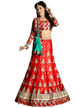 Red Net N Satin A Line lehenga Choli