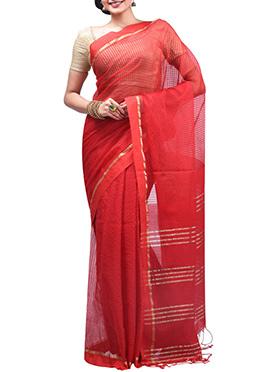 Red Net Saree