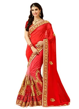 Red Ombre Embroidered Half N Half Saree