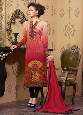 Red Ombre Salwar Suit