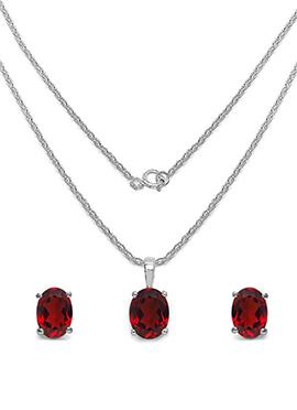 Red Garnet Stone Pendant Set