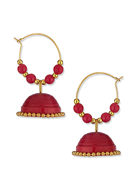 Red Paper Quilled Jhumkas