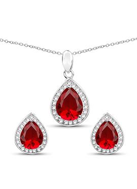 Red American Diamond Stone Pendant Set