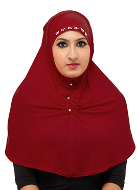 Red Poly Cotton Hijab