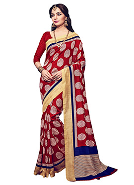 Red Printed Bhagalpuri Silk Saree