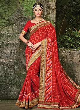 Red Pure Chiffon Bandhini Saree