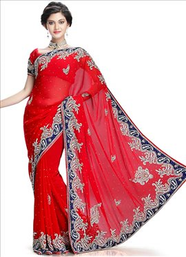 Red Pure Georgette Saree