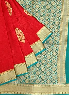 Red Pure Mysore Silk Jacquard Saree