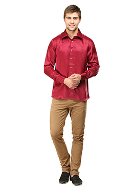 Red Pure Silk Classic Shirt