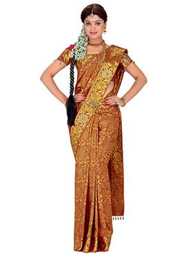 Red Pure Silk Zari Weaving Designed Saree
