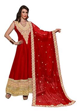 Red Raw Silk Anarkali Suit
