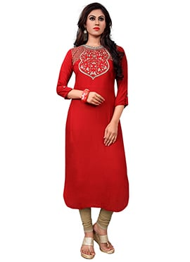 Red Reon Cotton Kurti