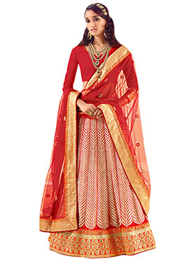 Red Resham Embroidered A Line Lehenga