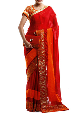 Red Satin Designed Border Saree