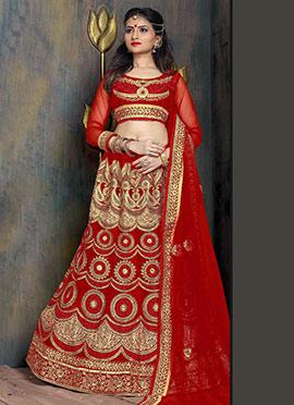 Red Satin Net Lehenga Choli