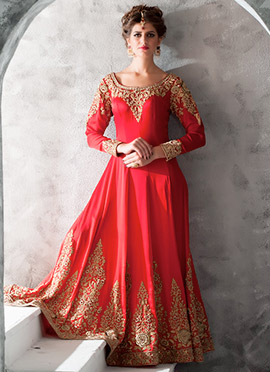Red Shade Embroidered Anarkali Suit