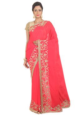 Red Silk Blend Border Saree