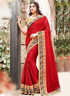 Red Silk Border Saree