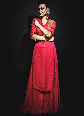 Red Silk Cotton Megha And Jigar Palazzo Suit