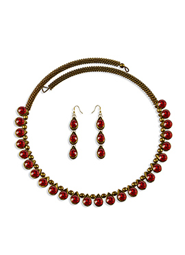 Red Stone Adorned Choker Necklace Set