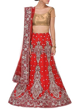 Red Stones Embellished A Line Lehenga Choli