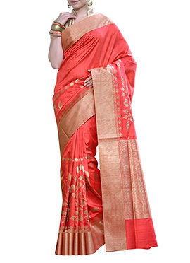 Red Tussar Benarasi Silk Saree