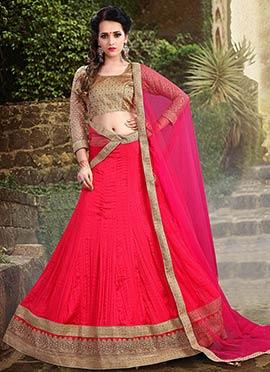 Red Tussar Silk A Line Lehenga Choli