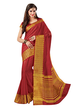 Red Tussar Silk Border Saree