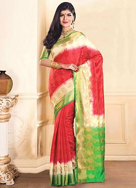 Red Tussar Silk Jacquard