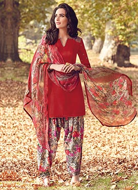 Red Tussar Silk Semi Patiala Suit