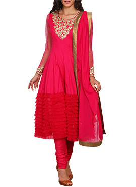 Red Vijay Balhara Cotton Anarkali Suit