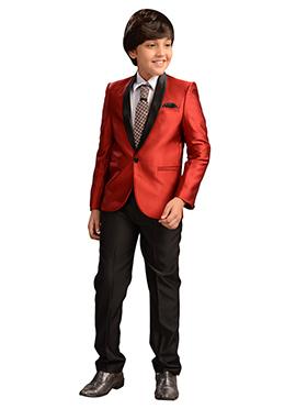 Red Viscose Kids Suit