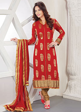 Red Viscose Straight Suit