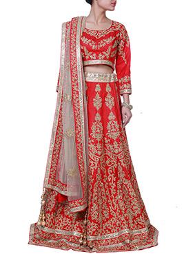 Red Zardosi Raw Silk A Line Lehenga Choli
