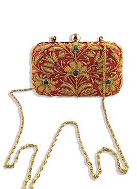 Red Zardosi Worked Majrooh Silk Box Clutch