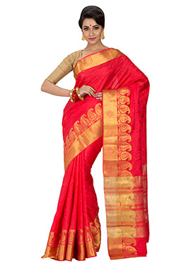 Red Zari Saree
