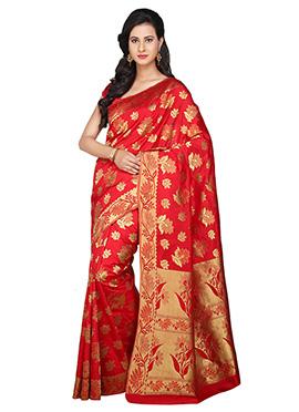 Red Zari Weaving Patterned Saree
