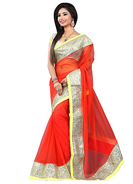 Reddish Orange Net Saree