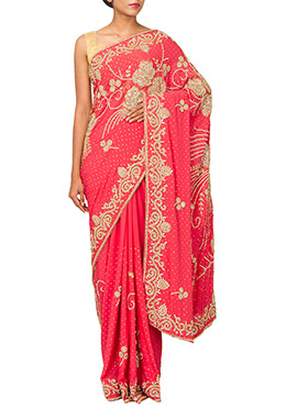Reddish Pink  Embellished Crepe Saree