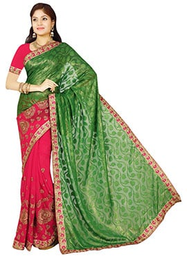 Reddish Pink N Deep Green Half N Half Saree