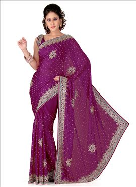 Refreshing Look Crystals Enhanced Chiffon Saree