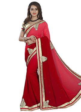 Regal Red Georgette Ombre Saree