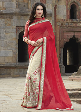 Regal Red N Cream Half N Half Saree