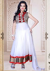 Remarkable White Net Ankle Length Anarkali Suit