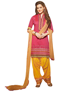 Resham Embroidered Pink Patiala Suit