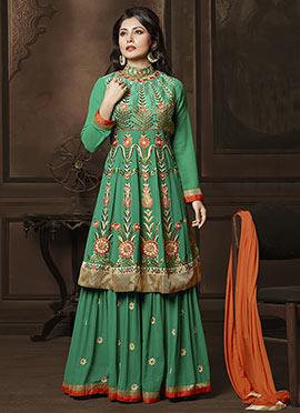 Rimi Sen Green Georgette Palazzo Suit