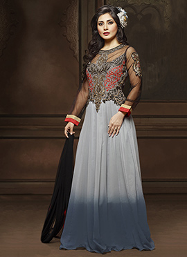 Rimi Sen Grey Ombre Floor Length Anarkali Suit